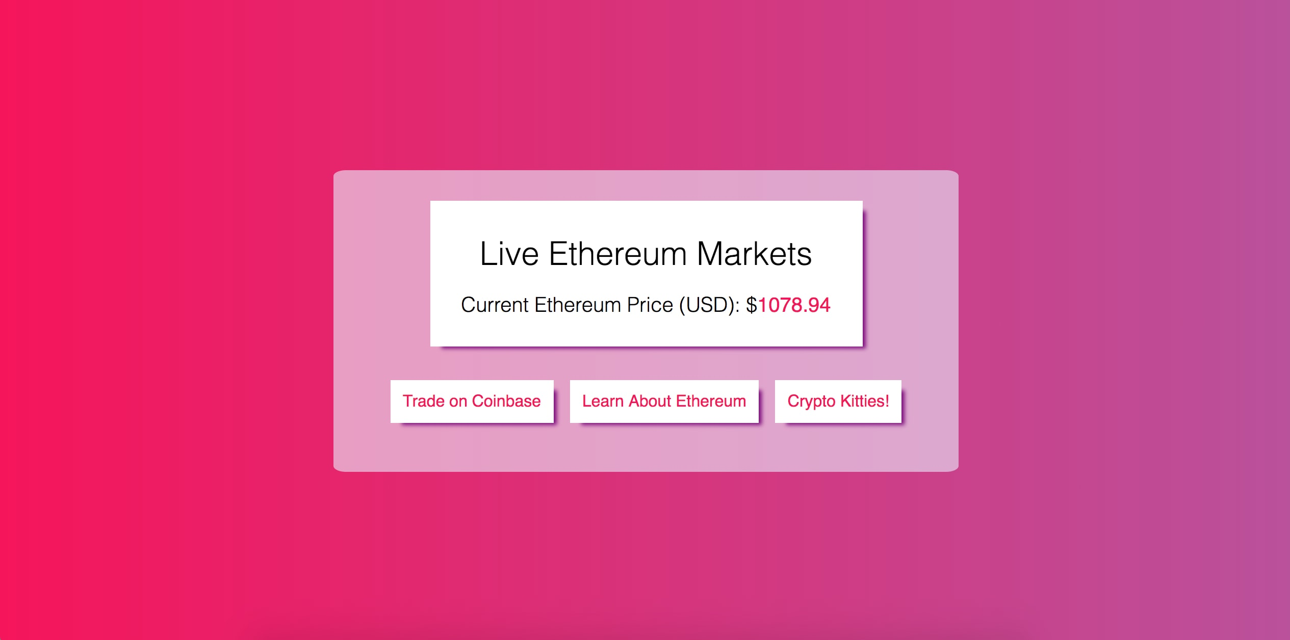 Ethereum Markets Website