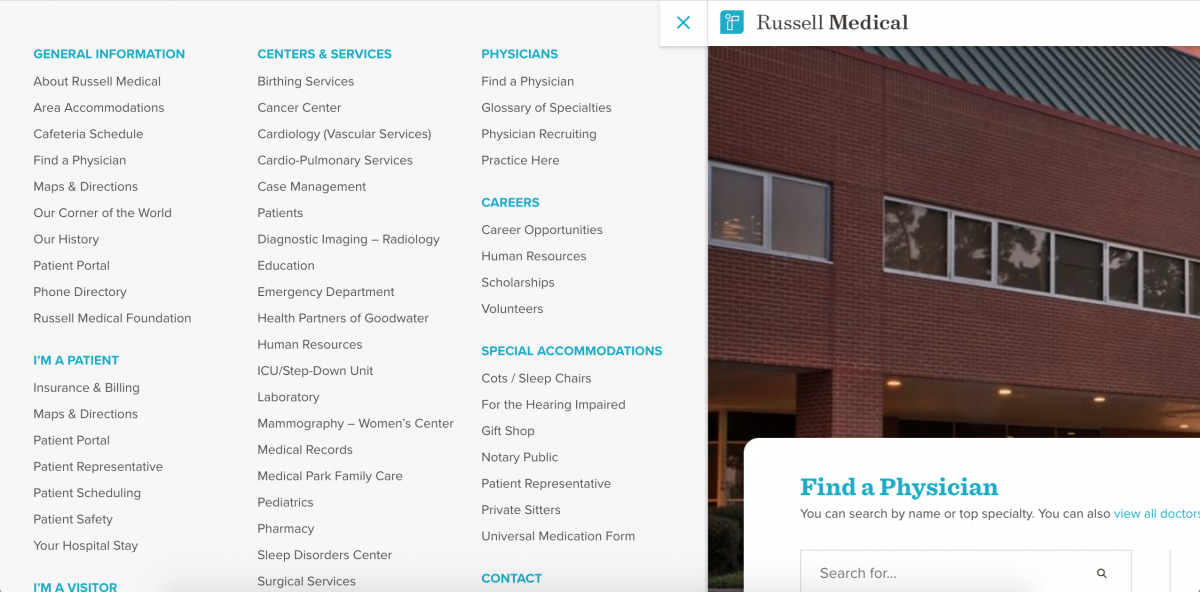 Russell Medical Center Drawer Menu