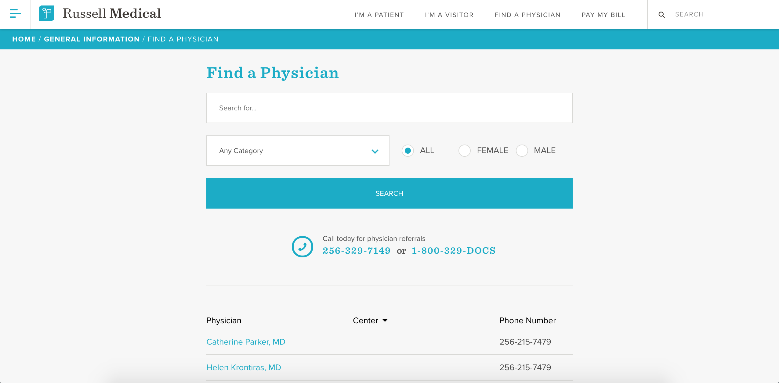 Russell Medical Find a Physician Page